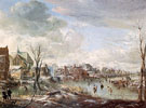 A Frozen River near a Village with Golfers and Skaters 1648 - Aert va der Neer