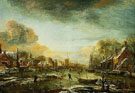 Frozen River by a Town at Evening 1665 - Aert va der Neer