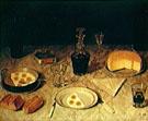 Naturezamorta com Ovos Pao Queijo E Vinho 1858 - Agostinho Jose da Mota