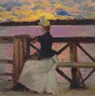 Marie Gallen at the Kuhmoniemi Bridge 1890 - Akseli Gallen Kallela