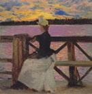 Marie Gallen at the Kuhmoniemi Bridge 1890 - Akseli Gallen Kallela