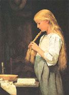 Madchen Die Haare Flechtend 1887 - Albert Anker
