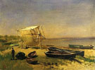 Fishing Station Watch Hill - Albert Bierstadt