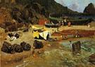 Fishing Boats At Capri - Albert Bierstadt