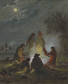 Camp Fire Preparing the Evening Meal c1858 - Alfred Jacob Miller