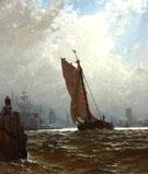 New York Harbor with the Brooklyn Bridge Under Construction c1877 - Alfred T Bricher