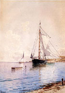 Drying the Main at Anchor - Alfred T Bricher