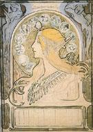 Study for Zodiac 1896 - Alphonse Mucha