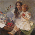 Jaroslava and Jiri the Artists Children 1919 - Alphonse Mucha