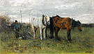 A Girl A Ploughing Farmer - Anton Mauve