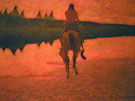 Sunset on the Plains c1905 - Frederic Remington