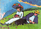 Jawlensky and Werefkin in the Meadow 1909 - Gabriele Munter