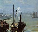 Tugboat and Lighter 1904 - William Glackens