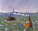 Breezy Day Tugboats New York Harbor 1910 - William Glackens