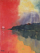 Seacoast Red Sky Two White Sails - Emil Nolde