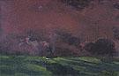 Green Sea Under Reddish Brown Sky Two Steamers - Emil Nolde