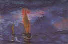 Blue Sea Two Brown Sails - Emil Nolde