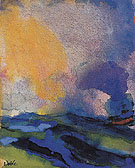 Blue Green Sea with Steamer - Emil Nolde