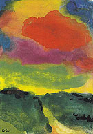 Green Landscape with Red Cloud - Emil Nolde