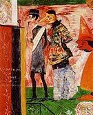 Figures in Front of the Playbill of La Ganne d Amour - James Ensor