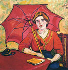 Girl in Red with a Parasol - Max Pechstein