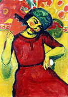 Young Woman with a Red Fan c1910 - Max Pechstein