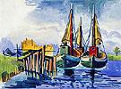 Kutter im Hafen von Leba 1933 - Max Pechstein