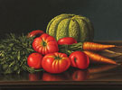 Still Life with Cantaloupe Tomatoes and Carrots - Levi Wells Prentice