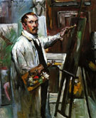 Self Portrait in The Studio 1914 - Lovis Corinth