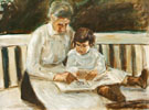 Granddaughter and Nanny on The Lawn Seat - Max Liebermann