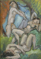 Three Nudes in a Landscape 1910 - Max Weber