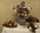 White Roses Cherysanthemums Peaches and Grapes - Henri Fantin Latour