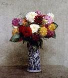 Dahlias In A Chinese Vase - Henri Fantin Latour