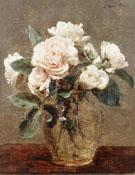 White Roses in a Glass Vase - Henri Fantin Latour