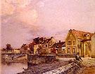 Figures at The Village Pond Sunset - Jean Charles Cazin