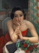 Jeune Femme Pensive Aux Roses Rouges 1923 - Jean Metzinger
