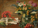 Still Life with Flowers Vase and Statue of a Cherub c1939 - John Steuart Curry