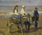 Boy and Girl Riding Donkeys - Isaac Israels