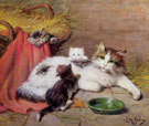 Cat with Kittens - Leon Charles Huber