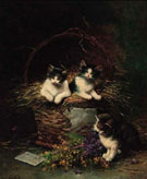 Playful Kittens - Leon Charles Huber