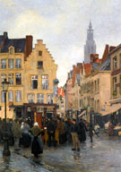 A Busy Market In Antwerp c1885 - Edgard Farasyn