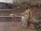 Aphrodite Presenting A Rose To Cupid - Henri Houben