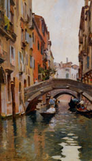 Gondola On A Venetian Canal - Rubens Santoro