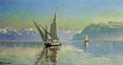 Udsigt Ved Geneve Soen Schweiz 1877 - Peder Mork Monstead