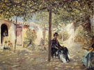 Ladies In A Sundappled Courtyard - Jose Gallego Y Arnosa