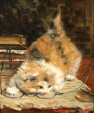 Kitten Playing with Glasses - Charles Van Den Eycken