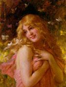 Jeune Fille Aux Papillons - Jacqueline Comerre Paton