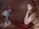 Lioness with Blue Hydrangea - Paul Cesar Helleu