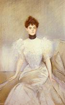 Portrait of A Lady with A Fan - Paul Cesar Helleu