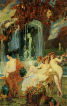 Jeunes Femmes A La Vasque Allegorie De Lautomne - Paul Jean Gervais